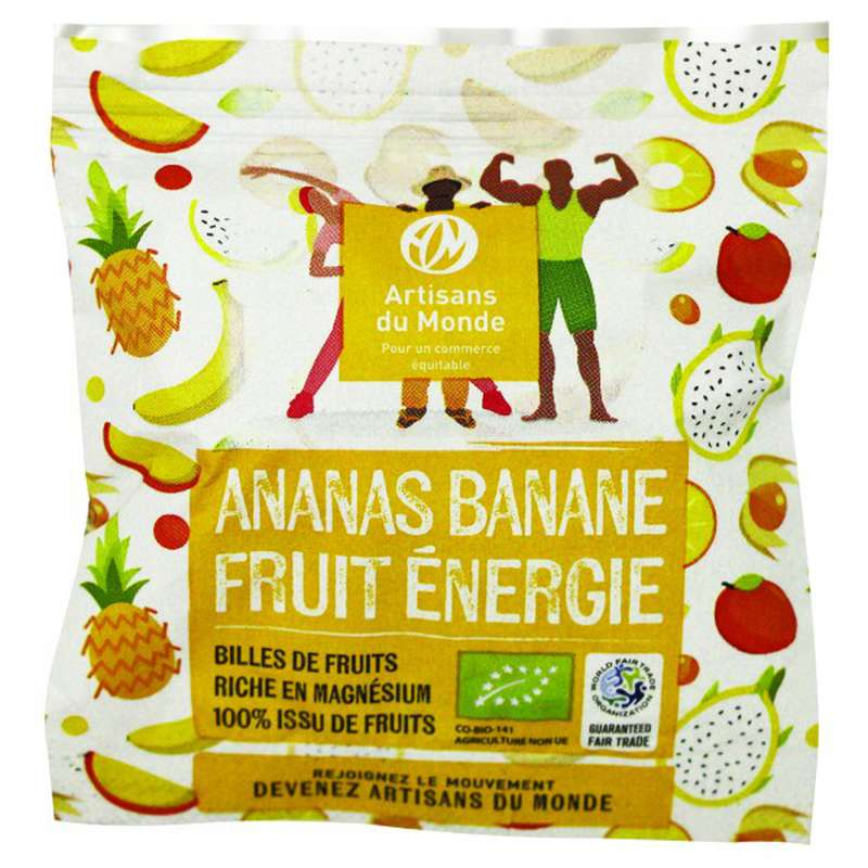 Billes de fruit Ananas Banane BIO, Artisans du monde (28 g)