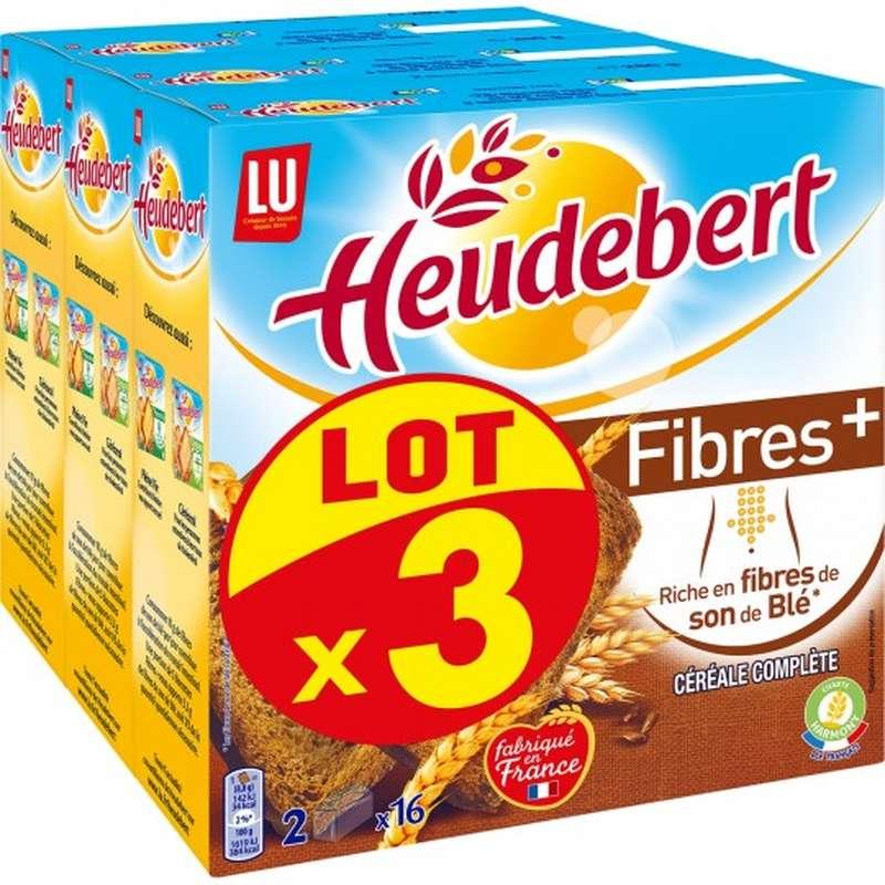 Biscottes aux céréales complètes Fibres +, Heudebert  LOT DE 3 (3 x 280 g)