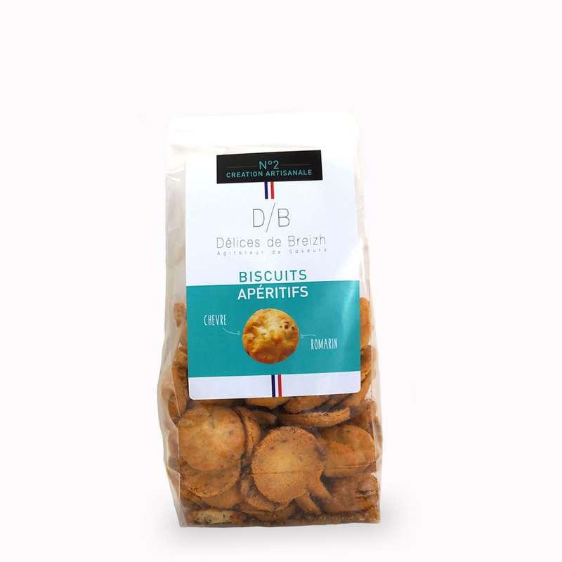 Biscuits apéritifs chèvre et romarin, Délices de Breizh (80 g)