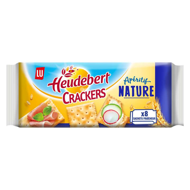Biscuits apéritif Crackers/nature, Heudebert (x 8, 250 g)