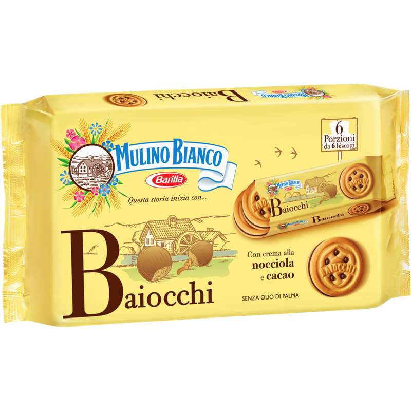 Biscuits au chocolat Baiocchi Nocciola, Mulino Bianco (x 6, 336 g)