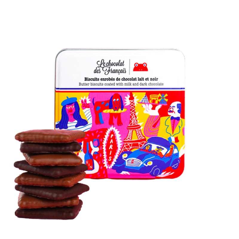 Biscuits enrobés de chocolat noir et lait, Le Chocolat des Français (90 g)