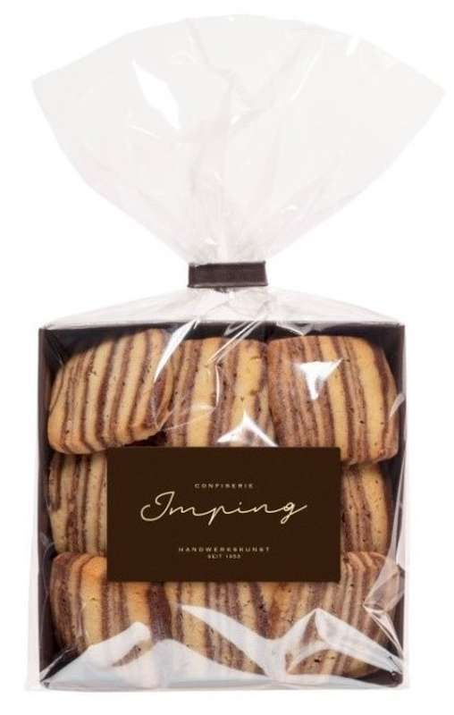 Biscuits rayés noir et blanc, Confiserie Imping (125 g)