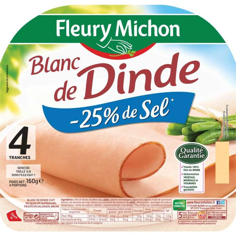 Blanc de dinde doré au four -25% sel, Fleury Michon (4 tranches, 160 g)