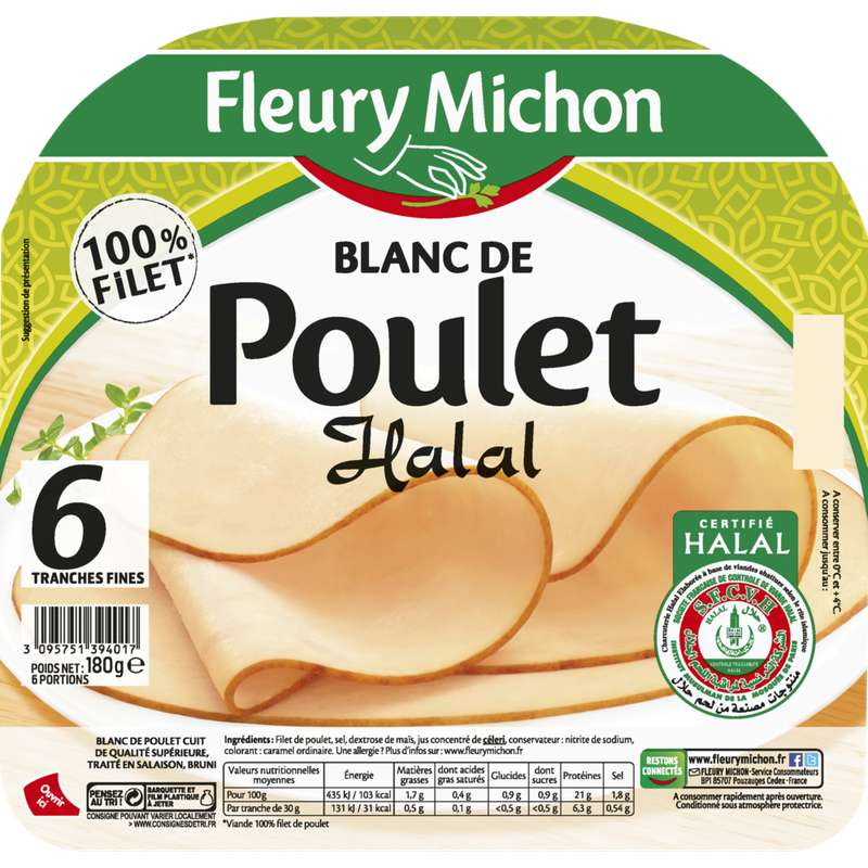 Blanc de poulet Halal doré au four, Fleury Michon (6 tranches, 180 g)