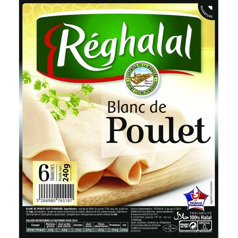 Blanc de poulet halal, Reghalal (6 tranches, 240 g)
