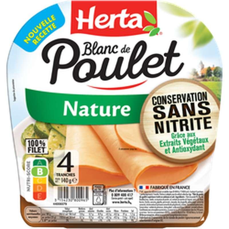 Blanc de poulet nature conservation sans nitrite, Herta (4 tranches, 140g)