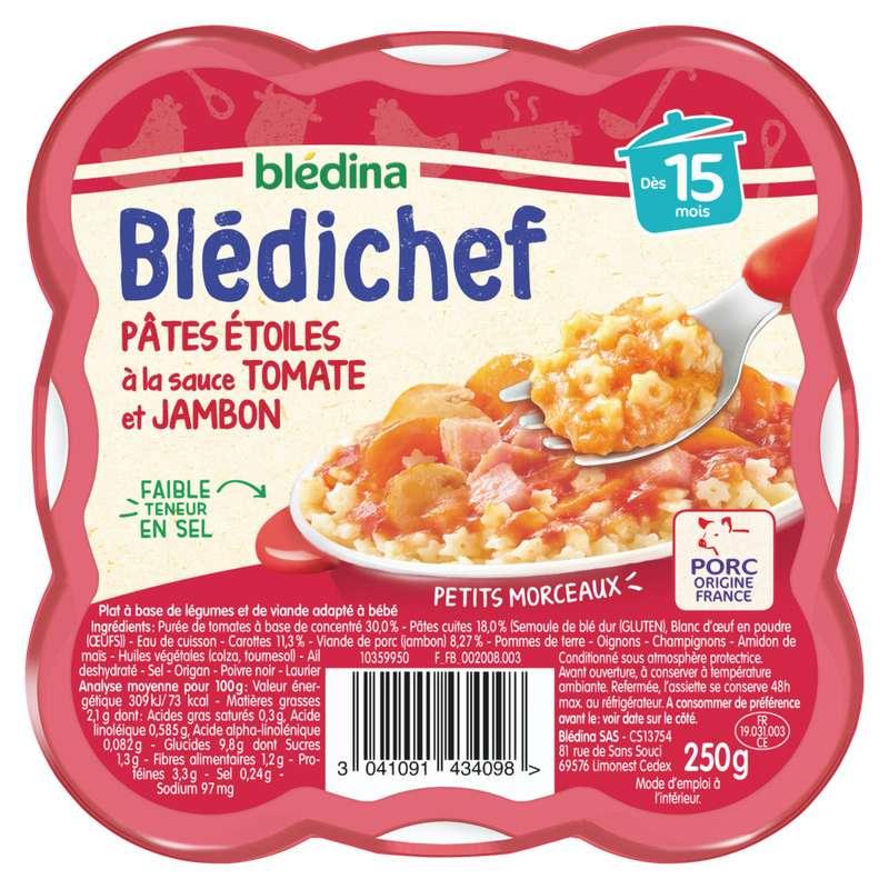 Blédichef assiette de pâtes étoiles sauce tomate jambon - dès 15 mois, Blédina (250 g)