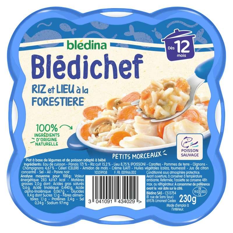Blédichef assiette de riz et lieu à la forestière - dès 12 mois, Blédina (230 g)
