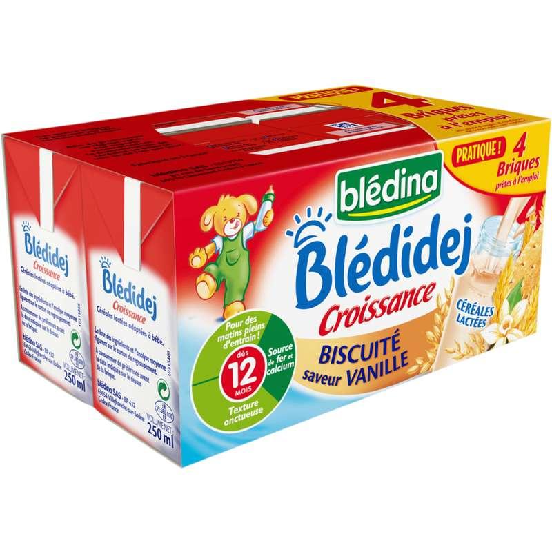 Blédidej croissance biscuité saveur vanille - dès 12 mois, Blédina (4 x 250 ml)