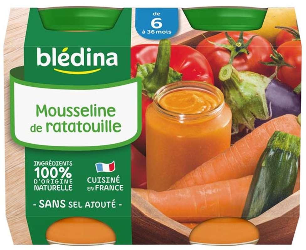 Petit pot mousseline de ratatouille - dès 6 mois, Blédina (2 x 200 g)