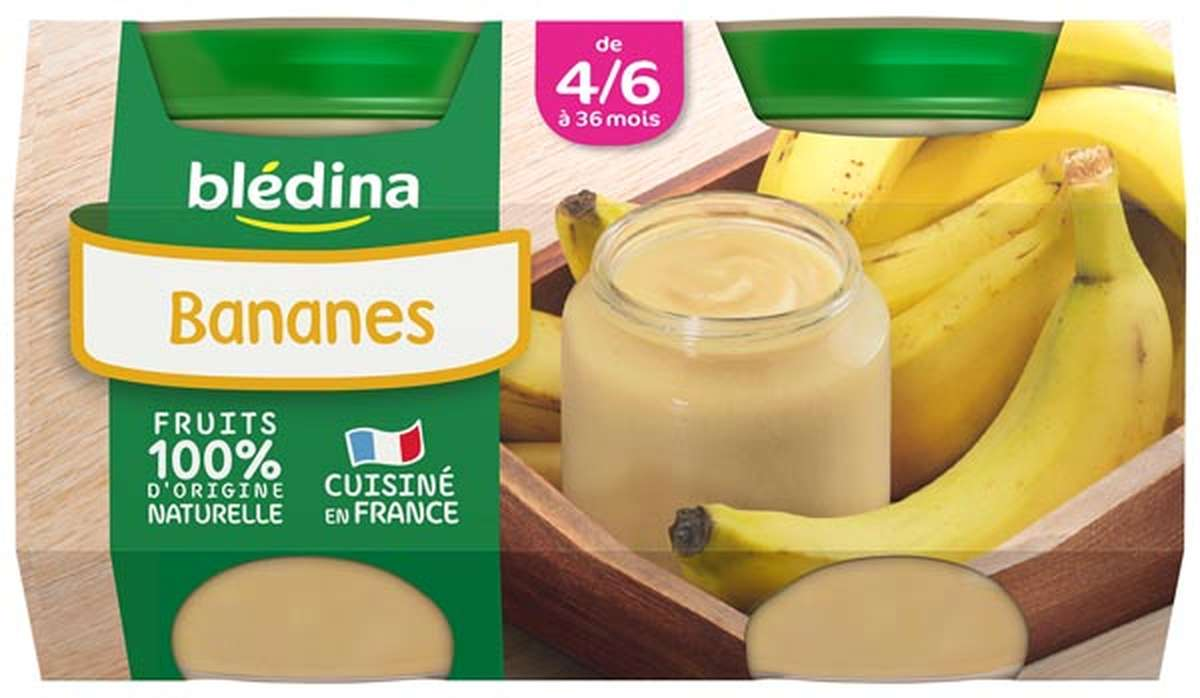 Petit pot bananes - dès 4/6 mois, Blédina (2 x 130 g)