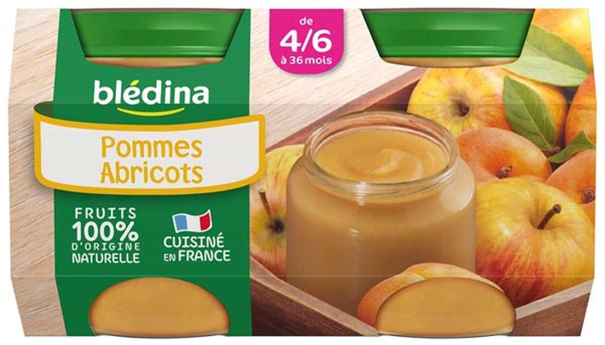 Petit pot pommes, abricots - dès 4/6 mois, Blédina (4 x 130 g)