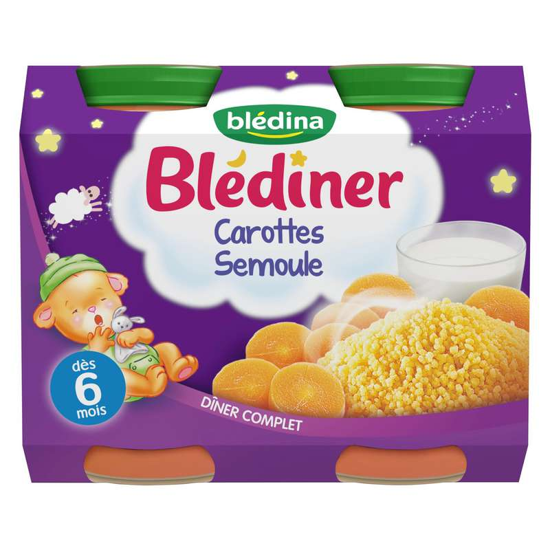Blédîner carottes semoule - 6 mois, Blédina (2 x 200 g)