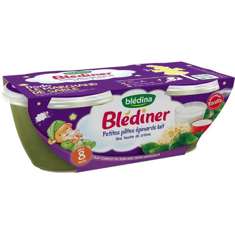 Blédiner bols petites pâtes, épinards et lait - dès 8 mois, Blédina (2 x 200 g)