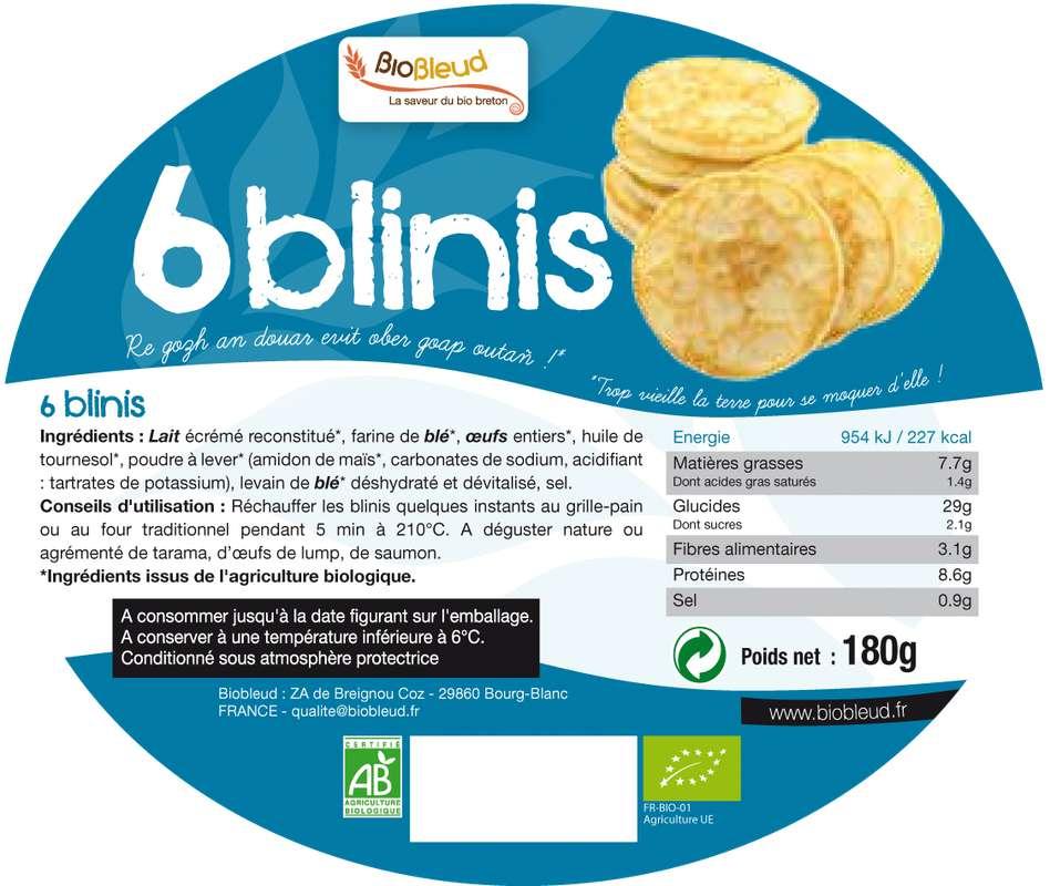 Blinis nature BIO, Biobleud (x6, 180 g)