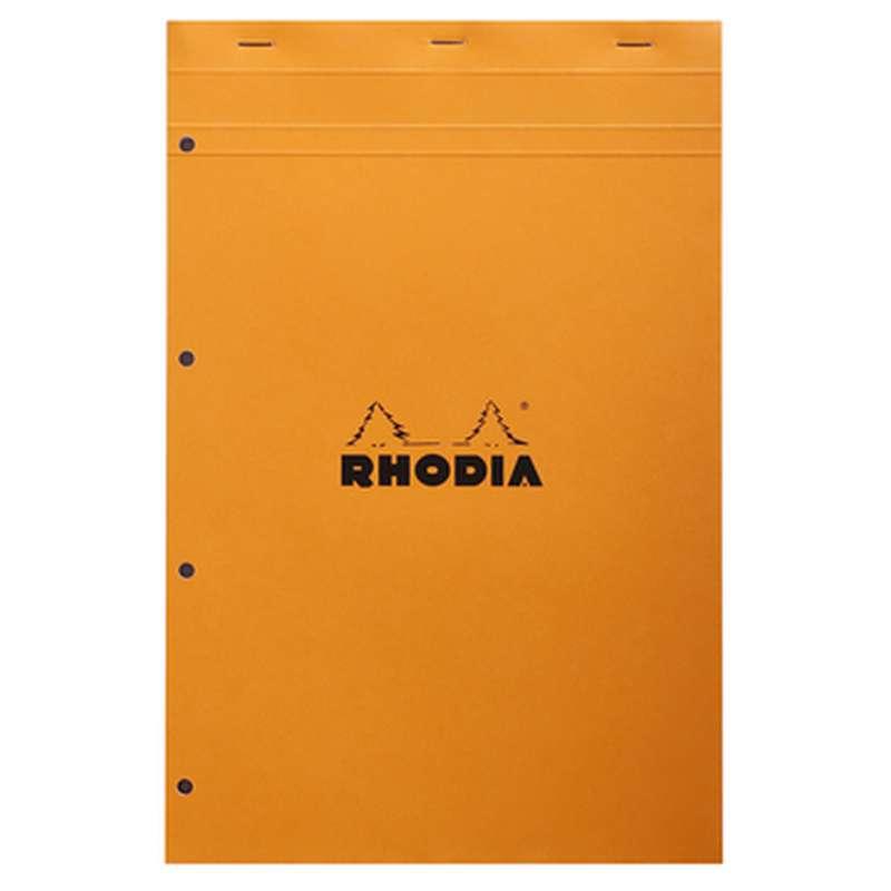 Bloc-notes agrafé et perforé petits carreaux, Rhodia (format A4, 21 x 31,8 cm, 160 pages)