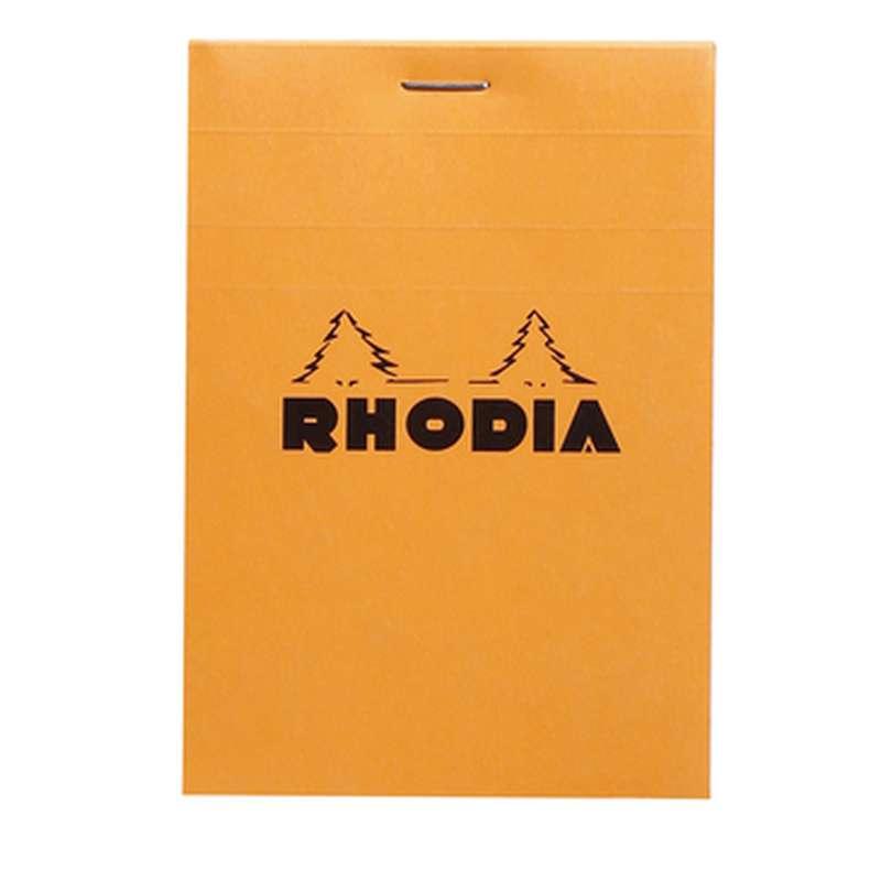 Bloc-notes agrafé non-perforé petits carreaux, Rhodia (8,5 x 12 cm, 160 pages)