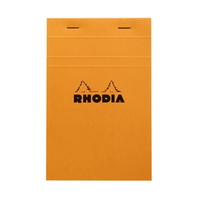 Bloc-notes agrafé non-perforé petits carreaux, Rhodia (11 x 17 cm, 160 pages)