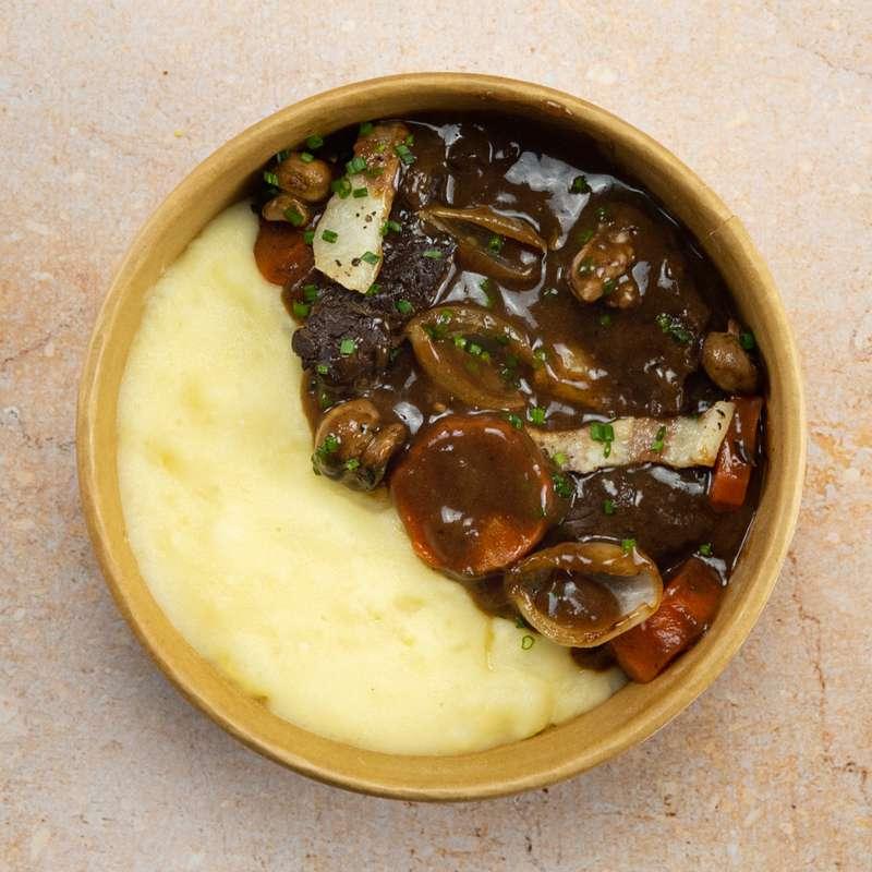 Boeuf bourguignon, purée de pomme de terre (300 g)