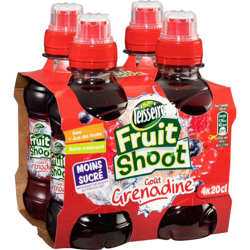 Pack de Fruit Shoot grenadine, Teisseire (4 x 20 cl)