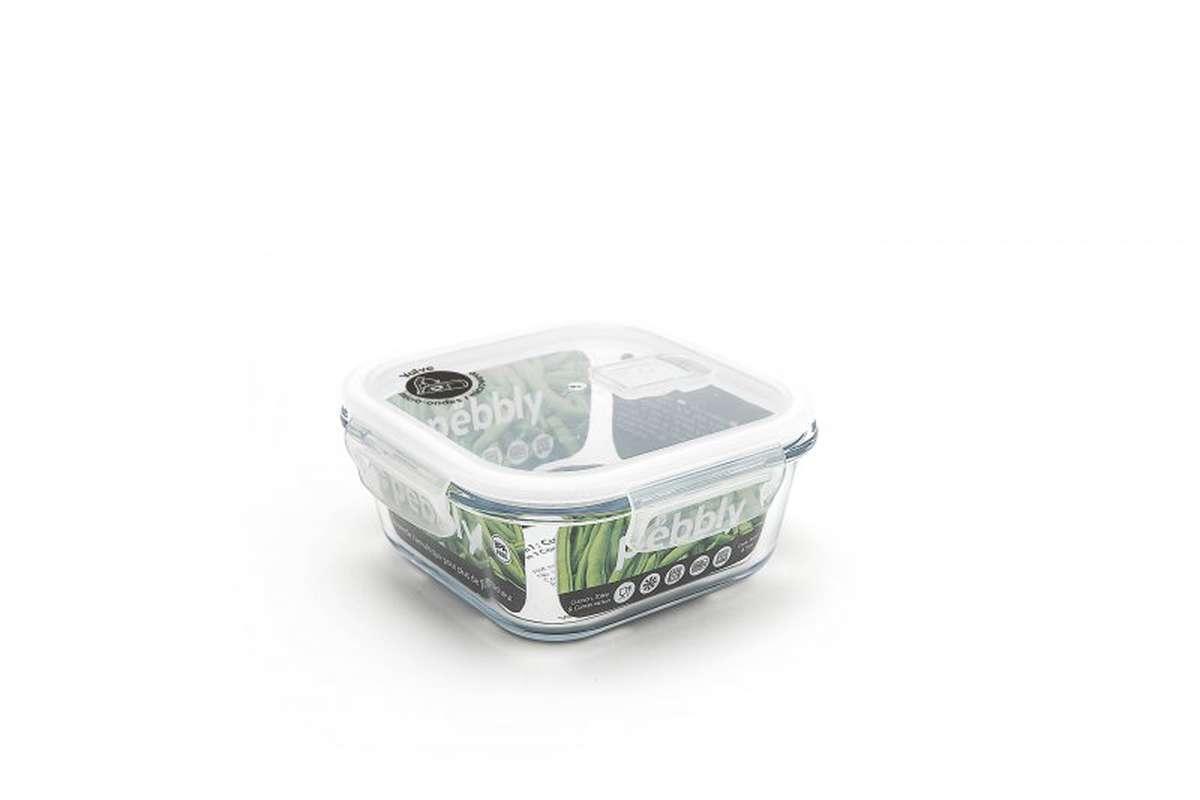 Boite carré avec couvercle en verre borosilicate 800 ml, Pebbly