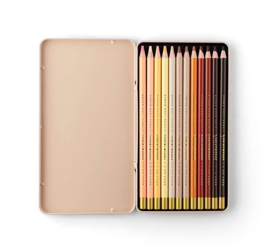 Boîte de 12 Crayons de couleur - Couleur Teint, Printworks (x 12)