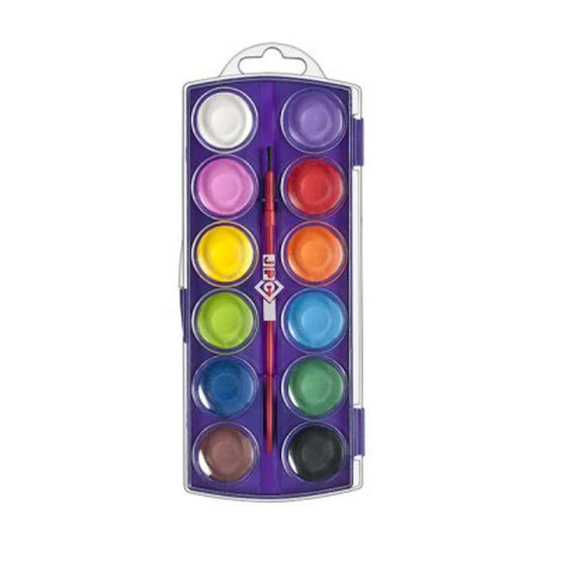 Boîte de 12 pastilles de peinture à l'eau et pinceau, JPC