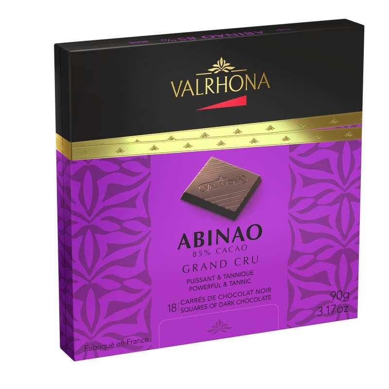 Boite de 18 carrés Abinao Noir 85%, Valrhona (90 g)