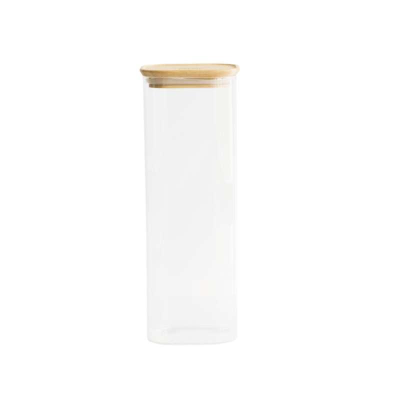 Boite en verre carré avec couvercle en bambou 2,2 L, Pebbly