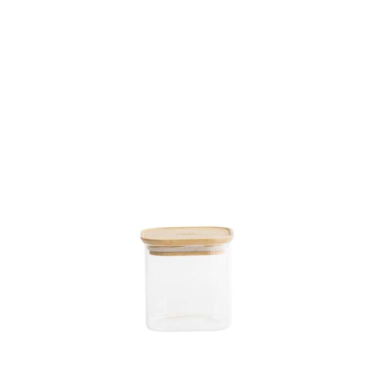 Boite en verre carré avec couvercle en bambou 800 ml, Pebbly