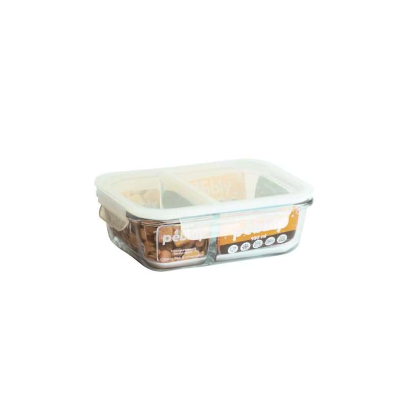 Boîte en verre rectangulaires compartimentées et étanches 950 ml, Peebly
