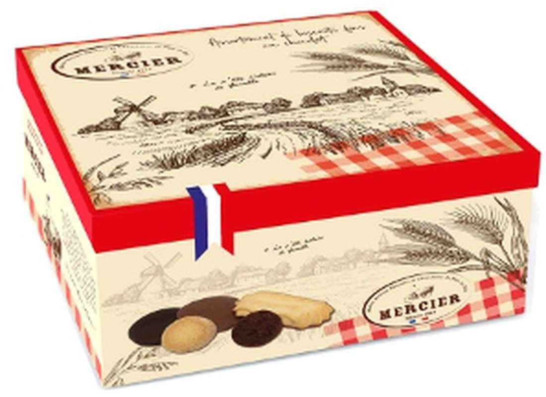 Boîte métal assortiment de biscuits fins chocolatés campagne, Daniel Mercier (175 g)