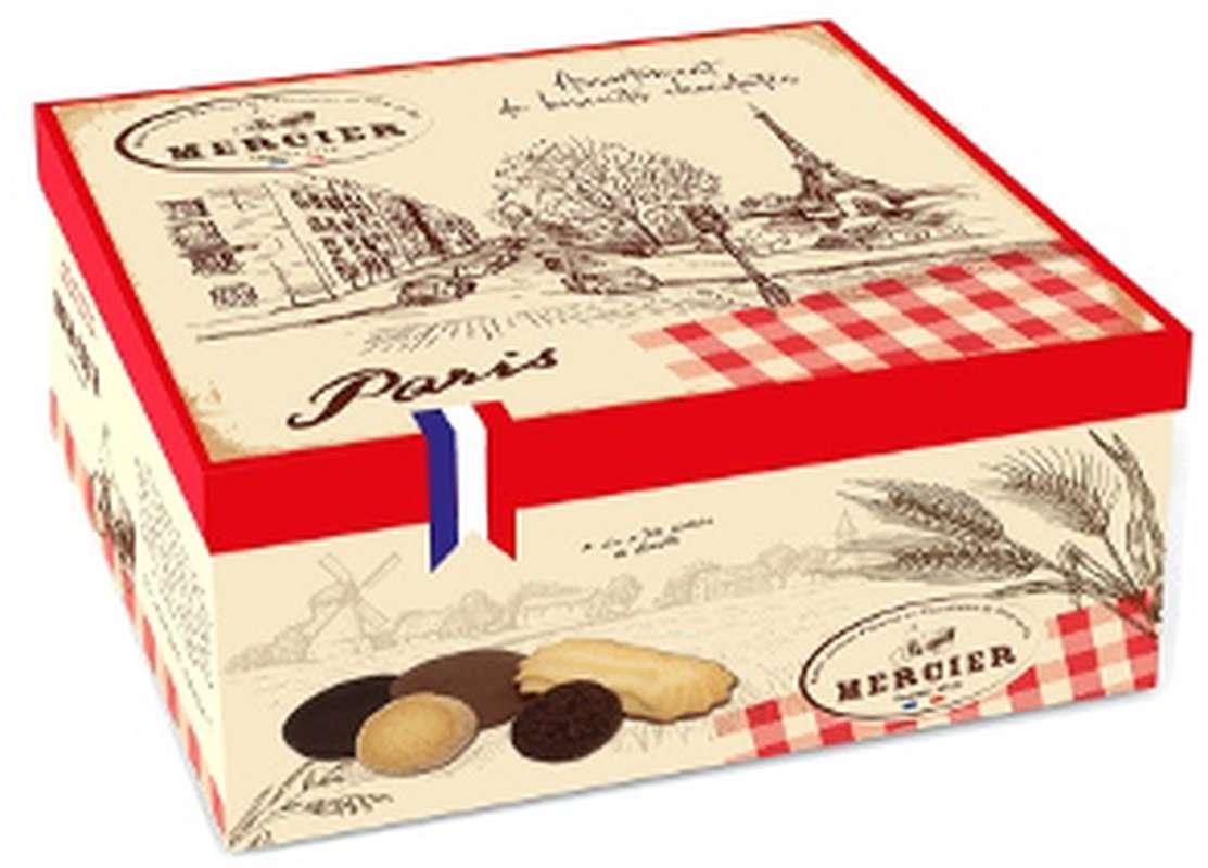 Boîte métal assortiment de biscuits fins chocolatés Paris, Daniel Mercier (175 g)
