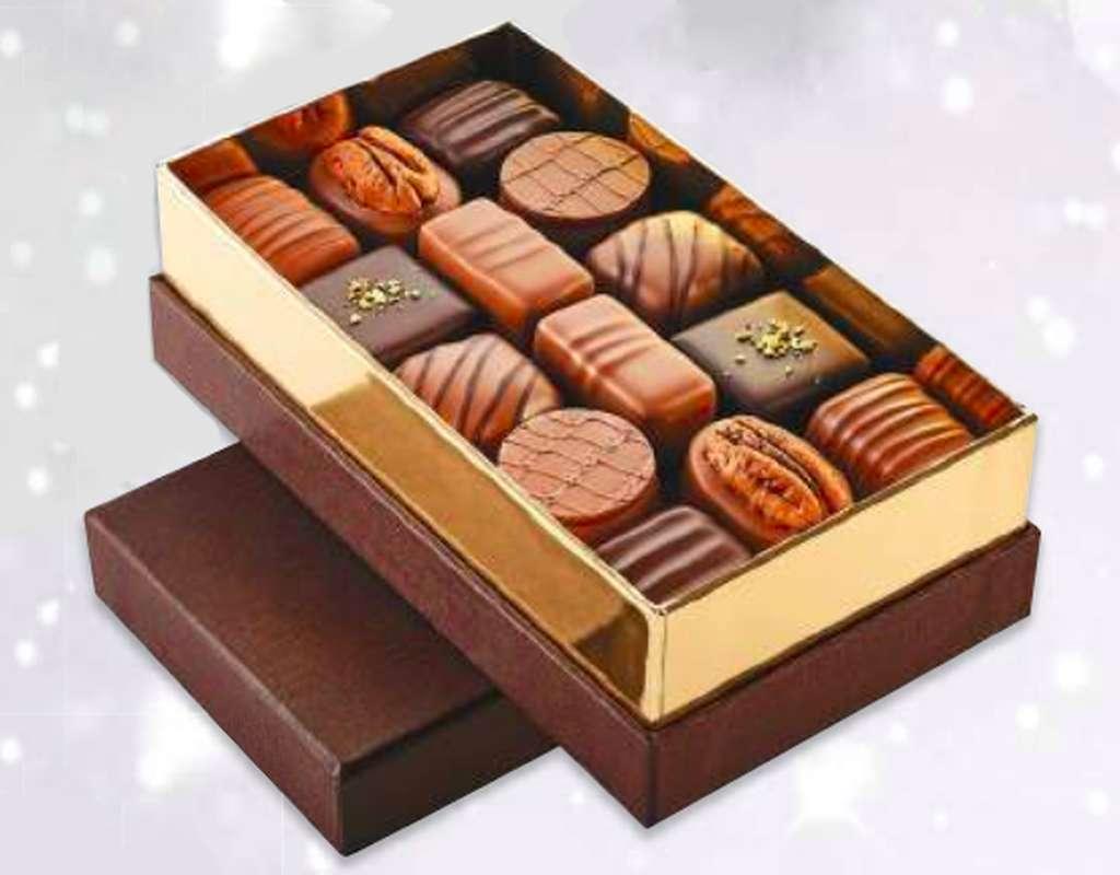 Ecrin de chocolats assortiments, Schaal Chocolatier (525 g)
