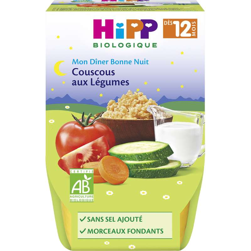 Mon diner bonne nuit couscous aux légumes BIO - dès 12 mois, Hipp (2 x 220 g)