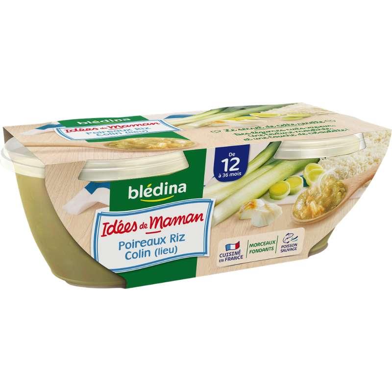 Bols poireaux, riz, colin Idées de Maman - dès 12 mois, Blédina (2 x 200 g)