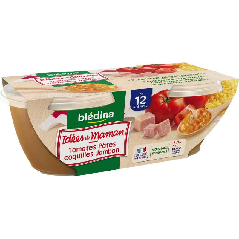 Bols tomates, pâtes coquille, jambon Idées de Maman - dès 12 mois, Blédina (2 x 200 g)