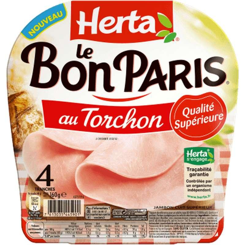 Jambon Le Bon Paris au torchon, Herta (4 tranches, 160 g)