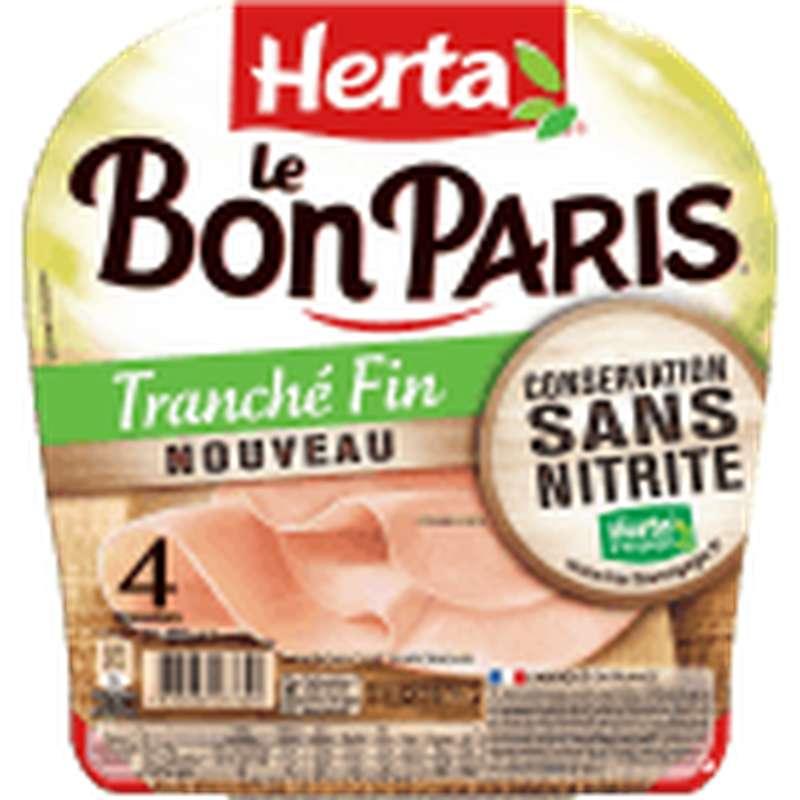 Jambon Le Bon Paris tranché fin, sans nitrite, Herta (4 tranches, 120 g)