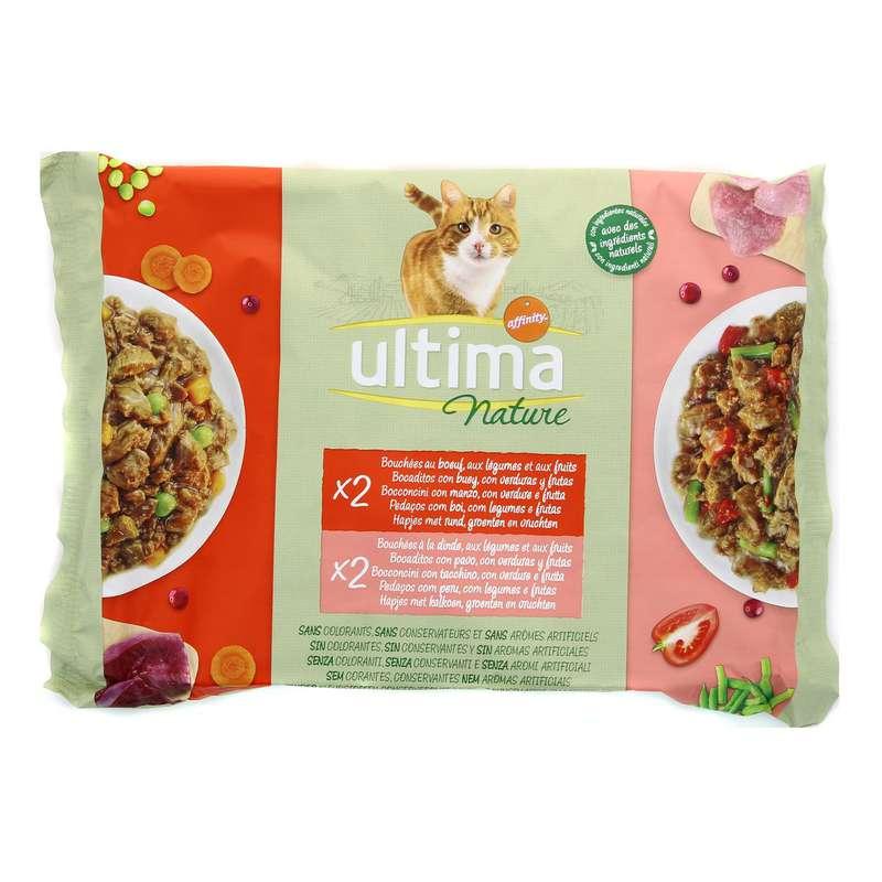 Bouchées pour chat au boeuf et à la dinde, Ultima Nature (4 x 85 g)