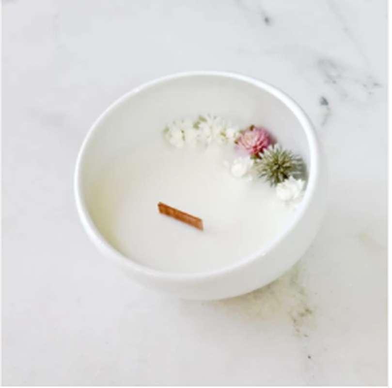 Bougie fleurie Jasmin, Organic Cocoon (9 x 7,5 cm)