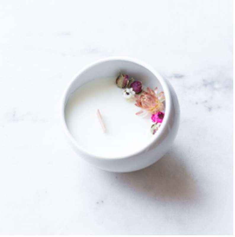 Bougie fleurie Rose, Organic Cocoon (9 x 7,5 cm)
