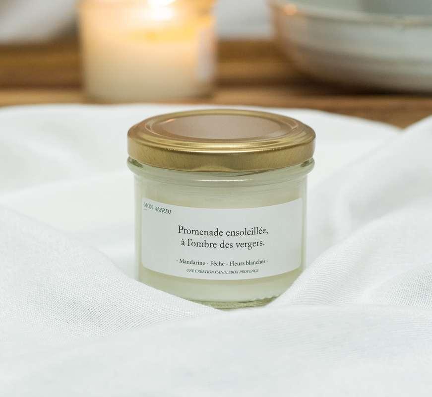 Bougie Promenade ensoleillée, à l'ombre des vergers - Agrumes, Candlebox Provence (200 g)