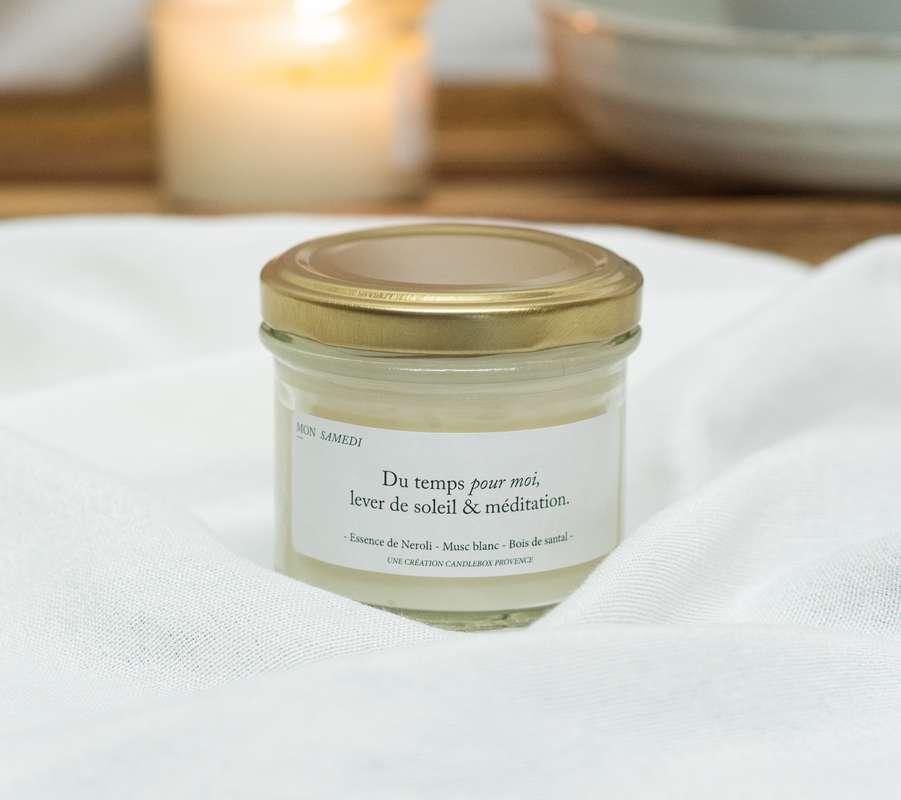 Bougie Du temps pour moi, lever de soleil et méditation - Encens, Candlebox Provence (200 g)