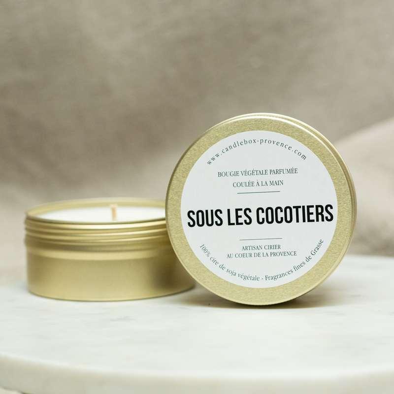 Bougie fraîche et exotique Sous les Cocotiers, Candlebox Provence (170 g)