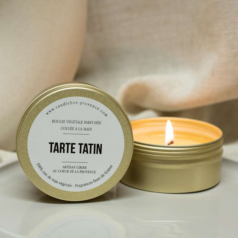 Bougie fruitée et gourmande Tarte Tatin, Candlebox Provence (170 g)