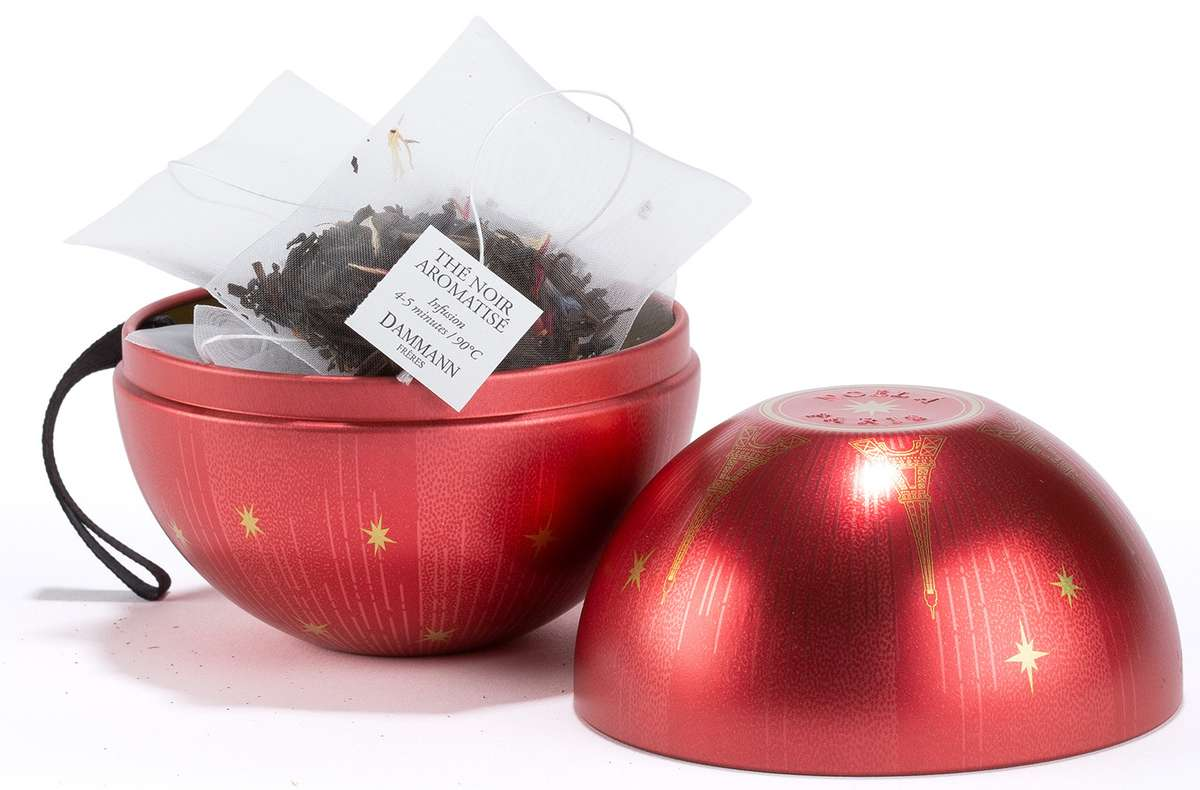 Boule à suspendre thé noir aromatisé - Noël à Paris, Dammann Frères (x 10 sachets)
