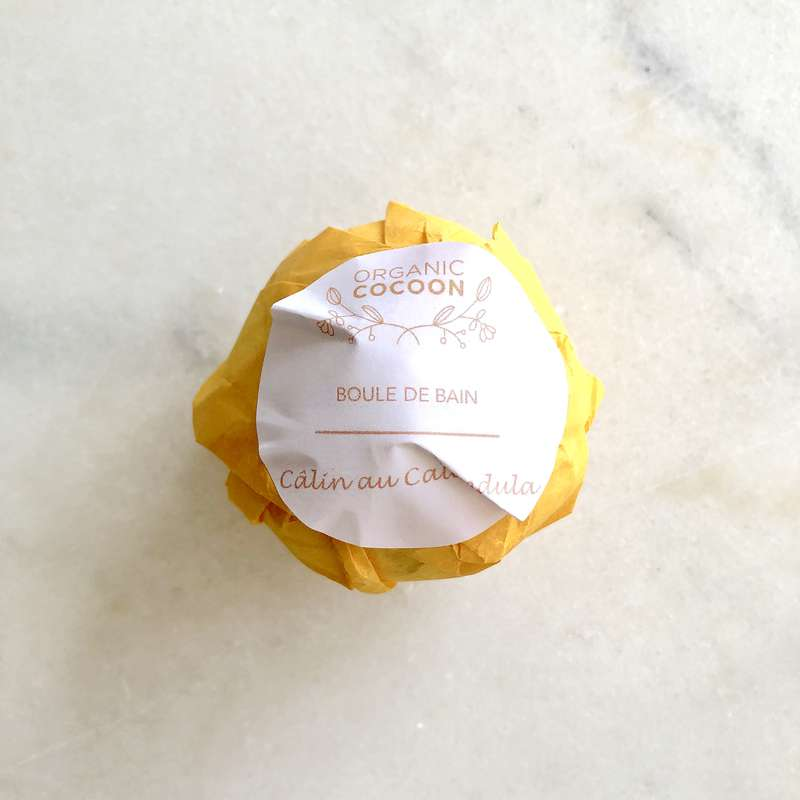Boule de bain hydratante Câlin au Calendula, Organic Cocoon (145 g)
