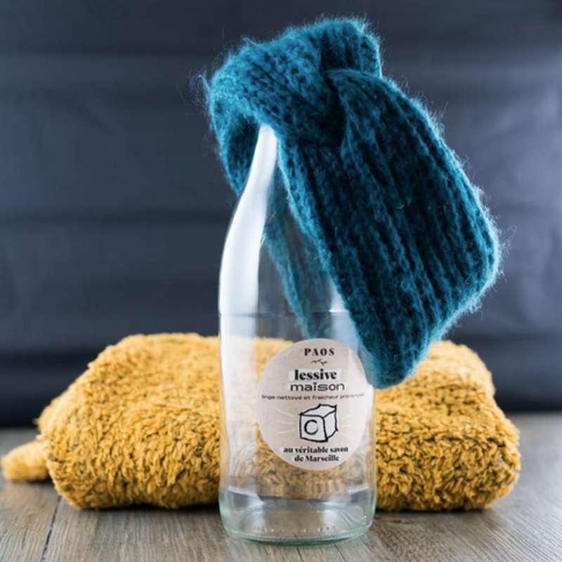 Bouteille en verre pour lessive maison, Paos (1L)